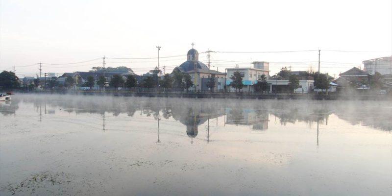 白土湖 蒸気霧