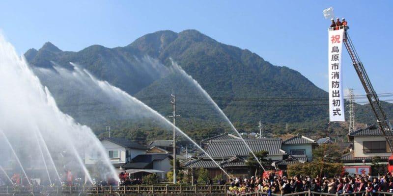 島原消防出初式 白土湖 放水