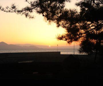 猛島神社 朝焼け