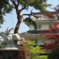 島原城 西望記念館(巽櫓)と織田信長の像