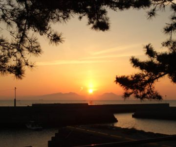 猛島漁港 朝焼け