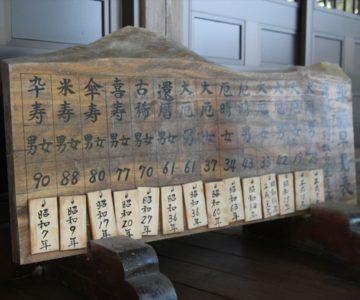 吾妻温泉神社 年詣早見表